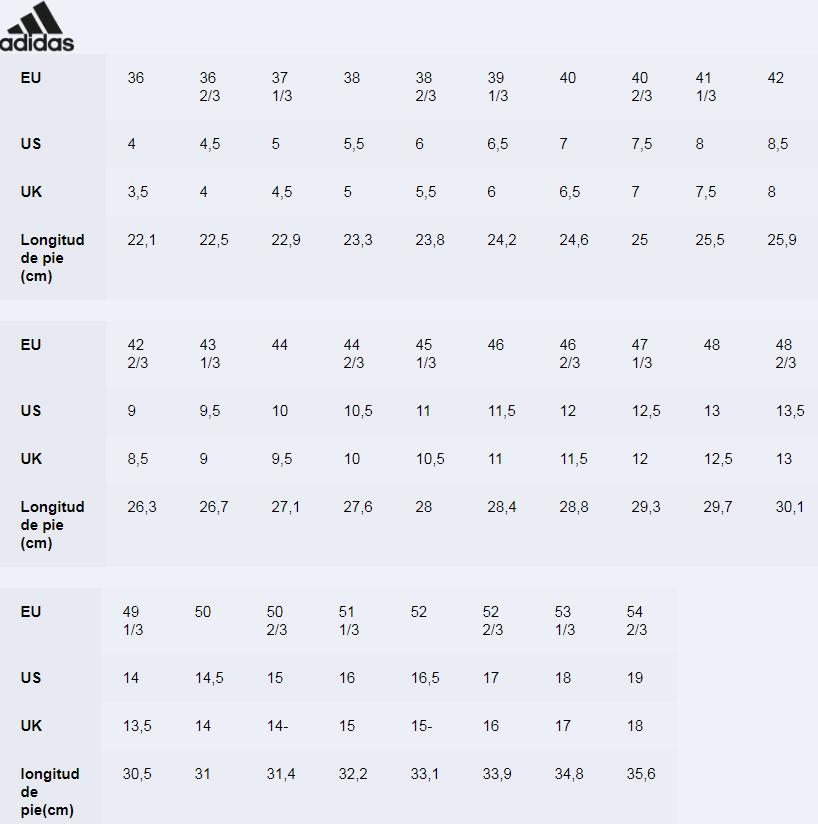 Tallaje botas Adidas